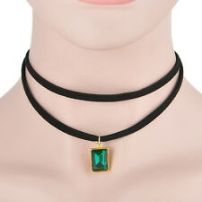 1PC Emerald Green Square Crystal May Birthstone Costume Jewelry Necklace Gift
