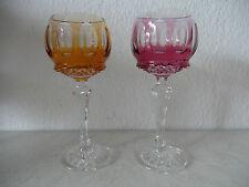 Zwei Überfang Kristallglas Weingläser FORMANO Römer mit Dekorschliff (B270)xx