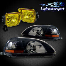 1996-1998 HONDA CIVIC EK COUPE/HATCHBACK/SEDAN BLK CRYSTAL HEADLIGHTS/YELLOW FOG