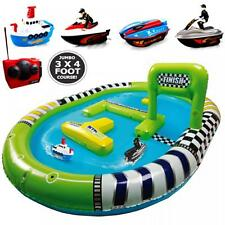 JUMBO INFLATABLE POOL TWIN RADIO REMOTE CONTROL BOAT RACING TRACK COURSE TOY SET