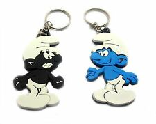 2 X SMURFS RUBBER  KEYCHAIN KEY RING