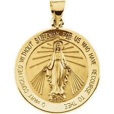 MIRACULOUS MEDAL 18K Yellow Gold 21.75mm Round Virgin Mary Large 2 Sided R5019