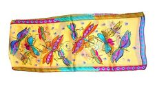 Fashion 100% Silk Animal Dragonfly Print Stole Neck Long Scarf Shawl Wrap Yellow