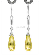 Sterling Silver Dangle Earring w/CZ Drop Yellow #53013