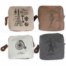 Classic Retro Canvas Tower Pattern Purse Wallet Card Key Coins Bag Pouch Case