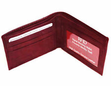 RFID Blocking Security Men's Bifold Card  Id Credit 100% Leather Wallet Red