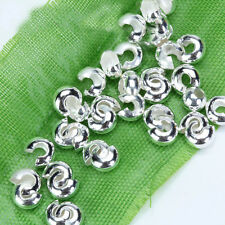 100 Silver Tone 4mm Crimp Cover Beads Jewelry Findings