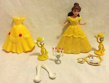 Polly Pocket Disney Princess Belle- Dresses, Lumiere, Spoons, Candlestick EUC