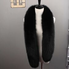GENUINE REAL LONG SILVER FOX FUR SCARF STOLE Black WRAP SHAWL