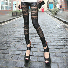 Fashion Lady Faux Leather Lace Mesh Inset Stripes Ankle Length Tight Leggings