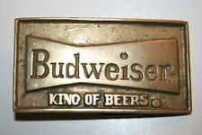 Vintage Budweiser King of Beers Los Angeles CA Brass Belt Buckle RARE 1970s