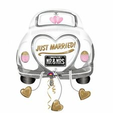 "S/SHAPE:JUST MARRIED WED CAR FOIL BALLOON XL - 23""/58CM W X 31""/79CM H"