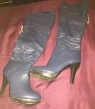 Blue Diamante Over The Knee High Heel Boots - Uk4 - Eu37 - Us6.5