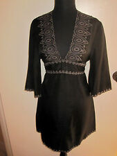 NWT Gray BCBG MaxAzria Embroidered Silk Tribal Tunic Dress Luxe Boho XS, S, 2, 4
