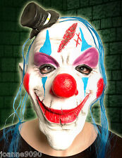 SCARY HORROR CLOWN LATEX HALLOWEEN COSTUME MASK WITH MINI TOP HAT RED NOSE & WIG