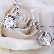 925 Sterling Silver Crystal Stud Dangle Earrings CZ Cubic Zirconia Birthday Gift