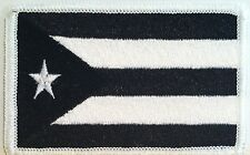 Puerto Rico Tactical Flag Iron On Patch Black & White MC Biker Emblem