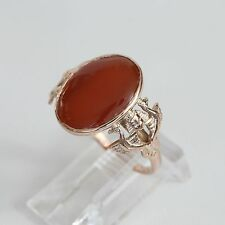 RARE EGYPTIAN REVIVAL EURO SOLID 8K GOLD  CARNELIAN CAB RING, 3.4 g., size 7, VG
