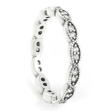 LEAVES Ring 925 Solid Sterling Silver Oxidized Stacking Band Size 8.5 / 58