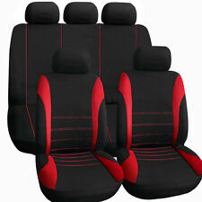11 pcs Full Seat Cover Set Car Seat Cover Low Front Back Set Black + Red Line FO