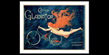 Beautiful CYCLES GLADIATOR Vintage c.1895 Reprint Nude Cyclist POSTER