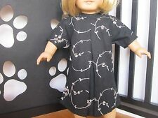 BLACK KIMONO-LIKE DRESS with Large Pleat & Silver Embroidery fits American Girl