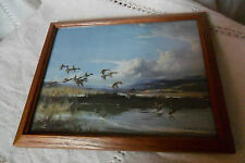 "VINTAGE VERNON WARD PRINT SHABBY CHIC RETRO ""THE FLIGHT BACK"" GLASS WOODEN FRAME"