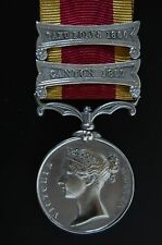 STERLING SILVER SECOND CHINA WAR MEDAL  1861 2 CLASPS