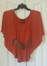 WOMEN'S RUE 21 SOLID ORANGE SHORT SLEEVE 100% RAYON CASUAL SHIRT TOP SIZE S