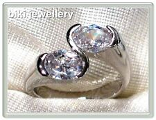 Cubic zirconia white gold plated ring #R1035 size 7