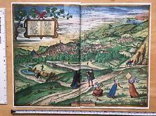 Mapa de color de Granda, España: 1563 Braun & Hogenberg reimpresión 1500's Tudor