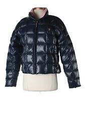 Women Ralph Lauren Sport Navy Blue Pink Shiny Puffer Down Winter Coat Size XS