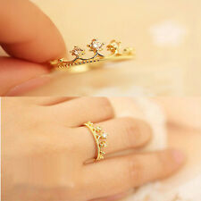 New Gold Plated Crystal Rhinestone Crown Ring Finger Fashion Jewelry Summer Gift