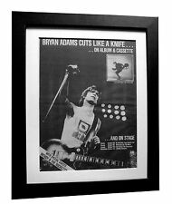 BRYAN ADAMS+Cuts Like Knife+POSTER+AD+RARE+ORIGINAL 1983+FRAMED+FAST GLOBAL SHIP