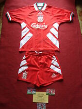 LIVERPOOL IAN RUSH JAN MOLBY PATRIK BERGER SIGNED SHIRT WITH SHORTS- SMALL YOUTH