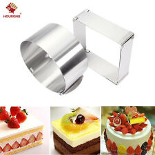 2Pcs Adjustable Stainless Steel Round&Square Mousse Cake Cutter Ring Baking Mold