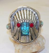 HAND CARVED~TURQUOISE~SHELL~STERLING~INDIAN CHIEF BRACELET~BY FRANCISCO GOMEZ