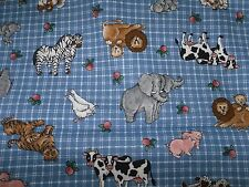 NOAH'S ANIMALS ON BLUE COTTON PLAID BY VIP   BY THE YARD
