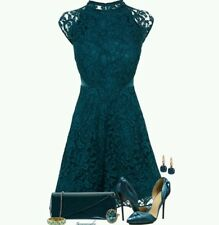 BNWT Stunning *COAST* 16 (UK) Laura Lace Dress Teal , Skater, Prom Party, New