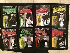 "UNIVERSAL MONSTERS ReAction SUPER 7 SET OF 8 Retro 3 3/4"" Figures MOC In Stock"