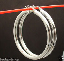 """4mm 2"""" Large Shiny Anti-Tarnish Hoop Earrings Real 925 Sterling Silver"""