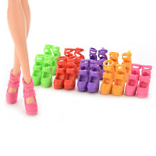 Randomly colors10 Pairs Assorted Colorful Doll Shoes Heels Sandals Barbie HU