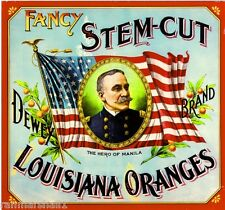 Louisiana Navy Admiral George Dewey Orange Citrus Fruit Crate Label Art Print