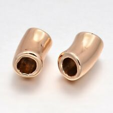 10pcs Rose Gold Tone Unfading Alloy European Large Hole Tube Beads 14.5x8mm