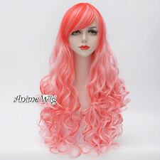 Lolita Cosplay Party Heat Resistant Pink Mixed Orange Long 80CM Curly Hair Wig