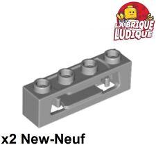 Lego - 2x Brique Brick Modified 1x4 Clips (Disk Shooter) gris/lb gray 16968 NEUF