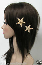 2 x Real Starfish Hair Clips Sea Shell Mermaid Boho Star Fish Beach Festival O27