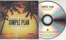 SIMPLE PLAN ft SEAN PAUL Summer Paradise 2012 UK 1-track promo test CD