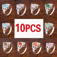 Wholesale Ring Jewelry Lots 10pcs 925 Sterling Silver Plated Rhinestone Rings