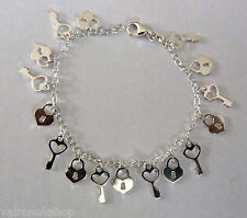 Sterling Silver Padlock and Key Charm Bracelet